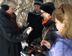 Werklund faculty and staff find one of 40 geocaches located on the University of Calgary campus.