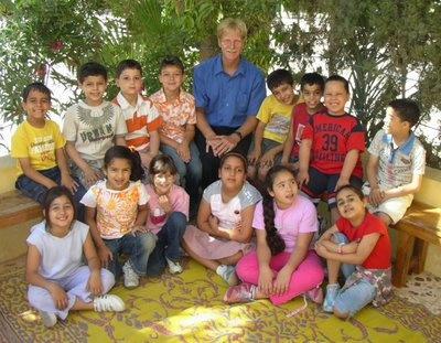 Steven Tober with his students in Benghazi, Libya.