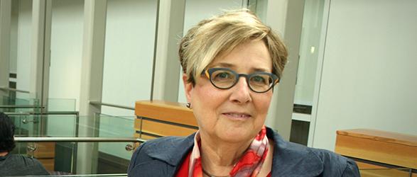 Associate Dean Sharon Friesen introduces Shirley Steinberg